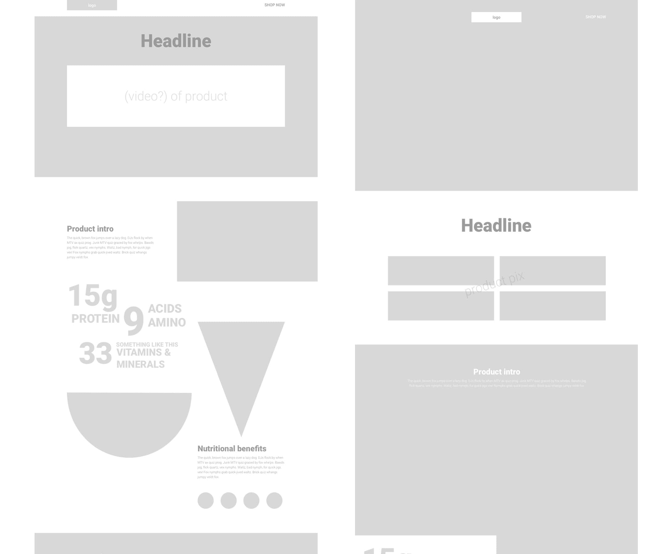 website low fidelity mockups